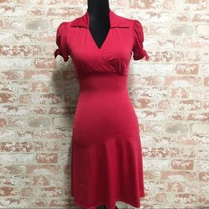 Red Empire Waist V-neck Midi Dress